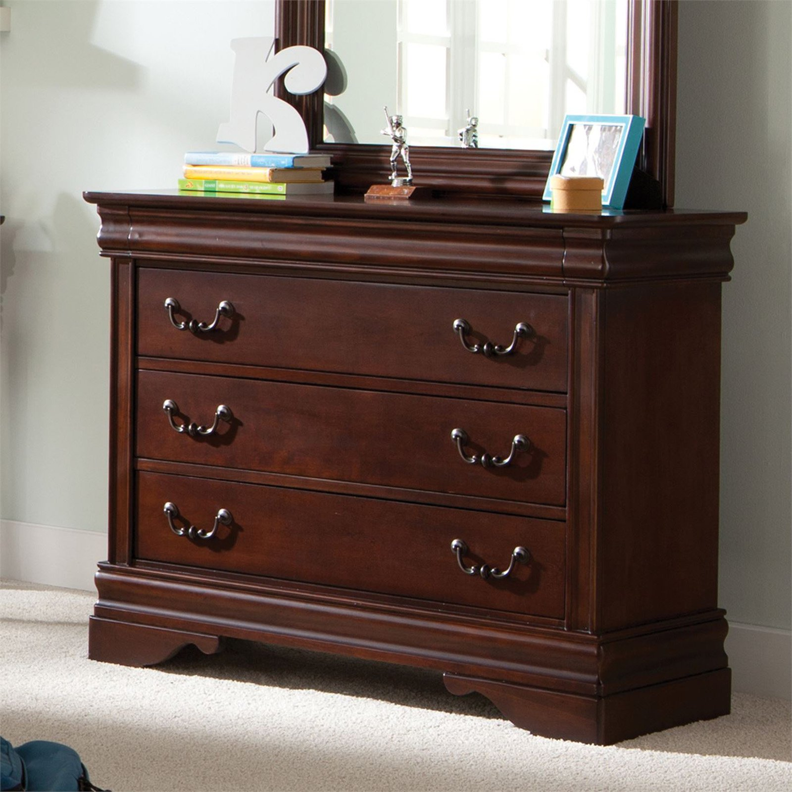 Liberty Furniture Carriage Court 3 Drawer Single Dresser - Mahogany