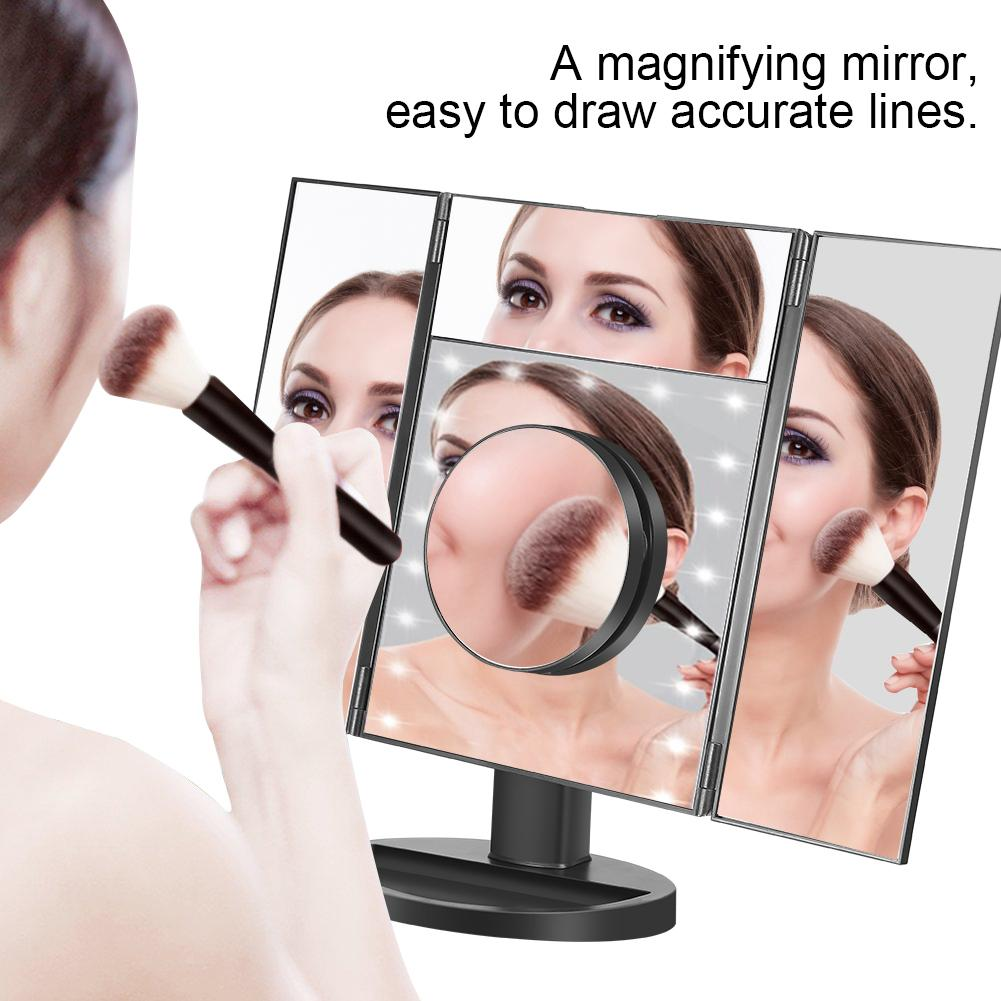 EECOO Makeup Vanity Mirror with Magnification,Trifold Mirror ,Touch Screen, 180° Adjustable Rotation,Dual Power Supply, Countertop Cosmetic Mirror