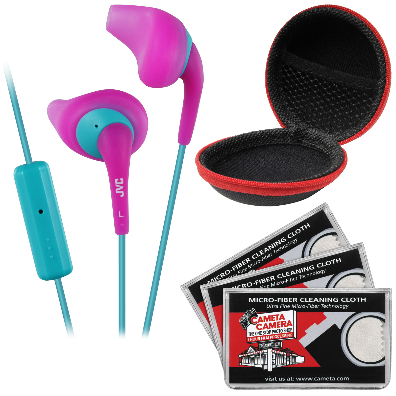 JVC HA-ENR15 Gumy Sport Headphones with Remote & Mic (Pink) with Case & 3 Microfiber Cloths