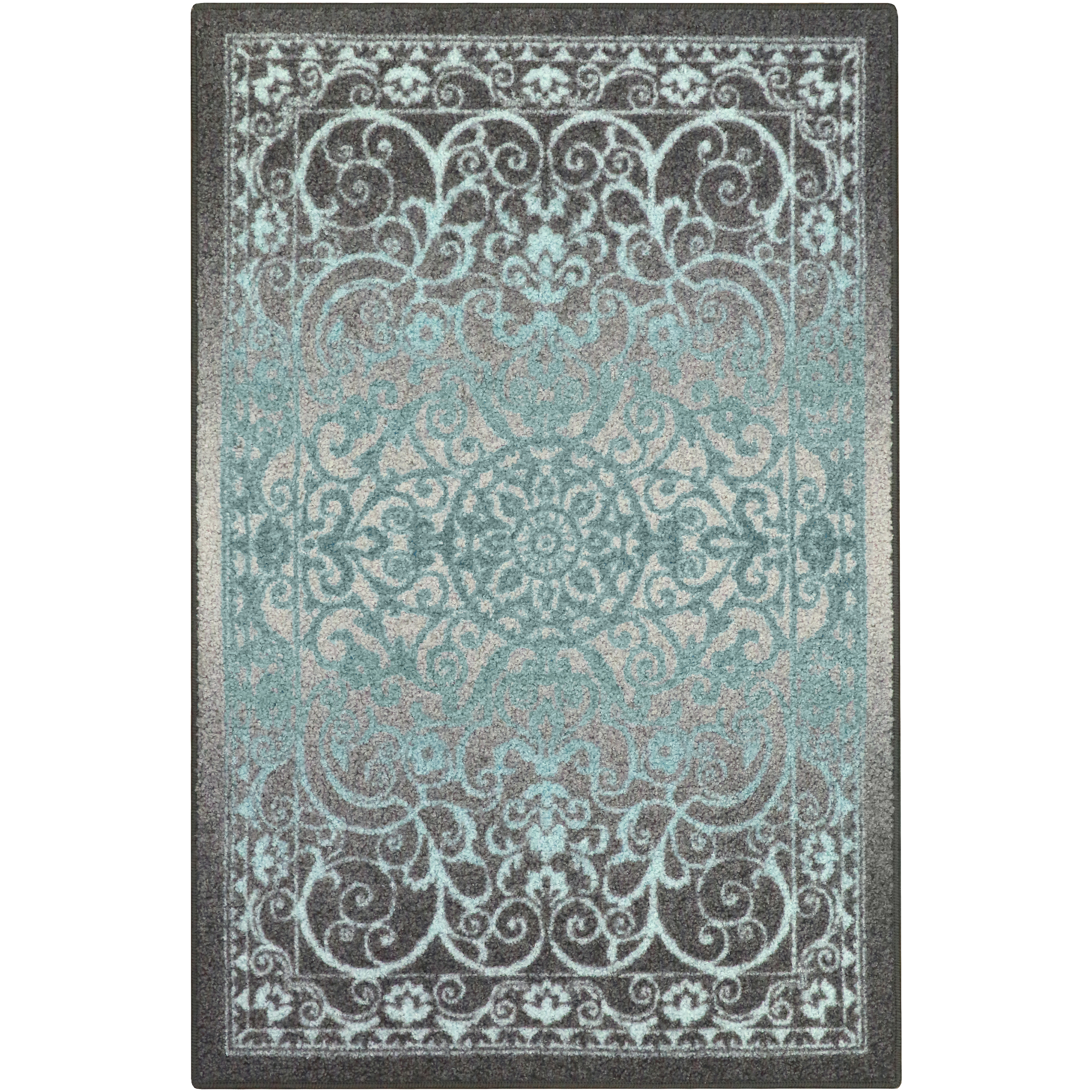 Turquoise Runner Rug: Turquoise Area Rugs 5 X 7 Gray Vintage Damask Scroll