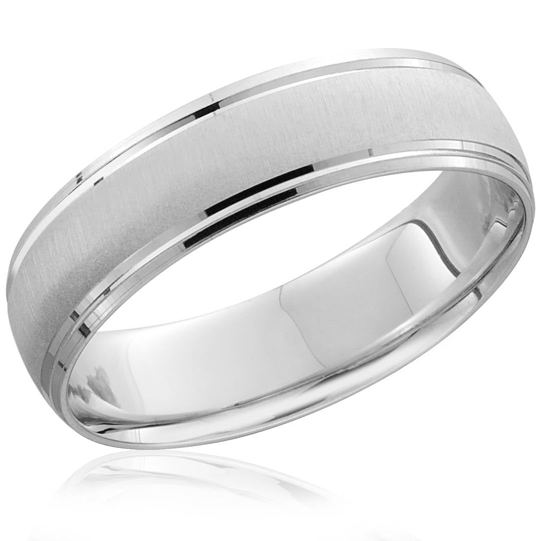 It is an image of Mens 42mm 42K White Gold Comfort Fit Wedding Band Brushed Ring