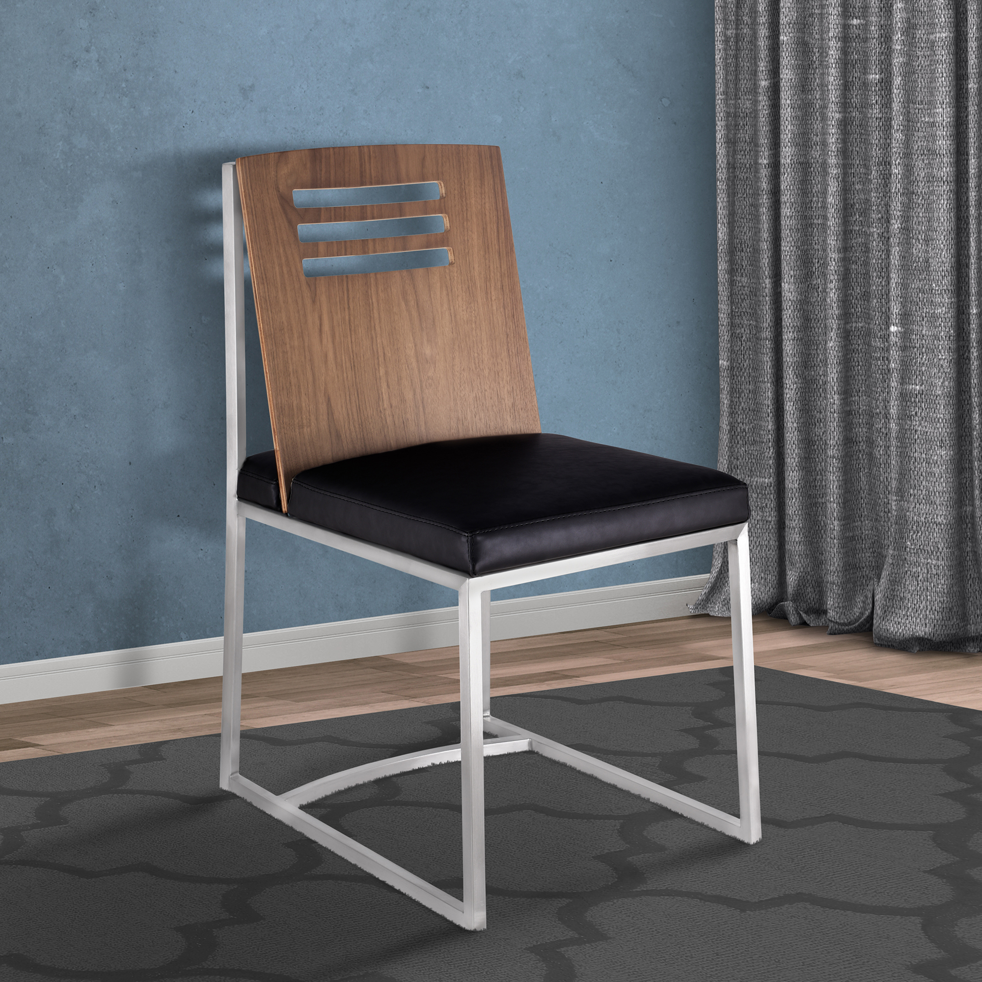 Armen Living Oxford Dining Chair In Brushed Stainless