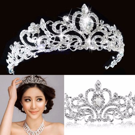 Bridal Princess Austrian Crystal Hair Tiara Wedding Crown Veil Headband for Wedding Prom - Prom Tiara