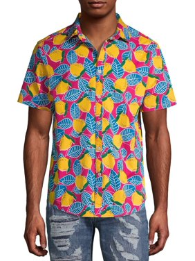 No Boundaries Men's Printed Short Sleeve Button Up Shirt, up to Size 3XL
