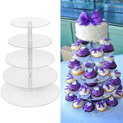 5 Tiers Cake Assembly Set Towering Cake Stand Acrylic Crystal Clear Cupcake Stand Wedding Party Display Cake Tower  HFON