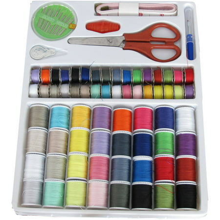 Michley Lil' Sew & Sew 100-Piece Sewing Kit-32 Spools with Matching Bobbins, Scissors, Needles, and (Oval Sewing Kit)