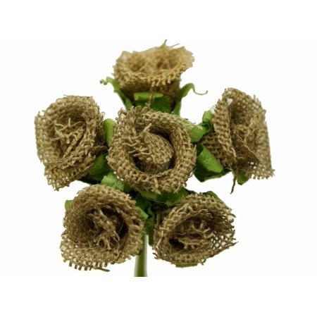 BalsaCircle 30 Burlap Mini Rose Buds Flowers - DIY Rustic Home Wedding Party Artificial Bouquets Arrangements Centerpieces (Burlap Centerpieces)