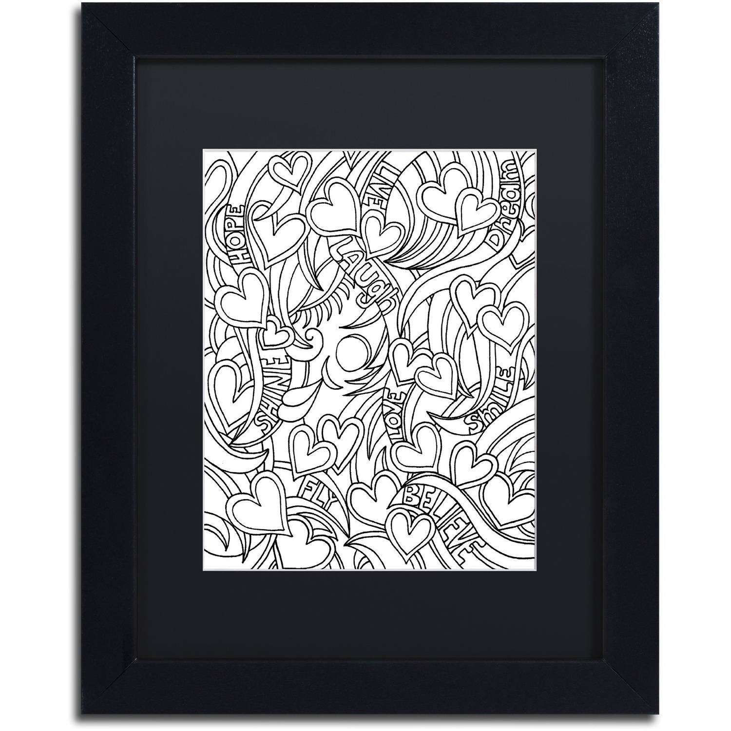 Trademark Global LLC Trademark Fine Art Mixed Coloring Book 41 Canvas Art by Kathy G. Ahrens, Black Matte, Black Frame