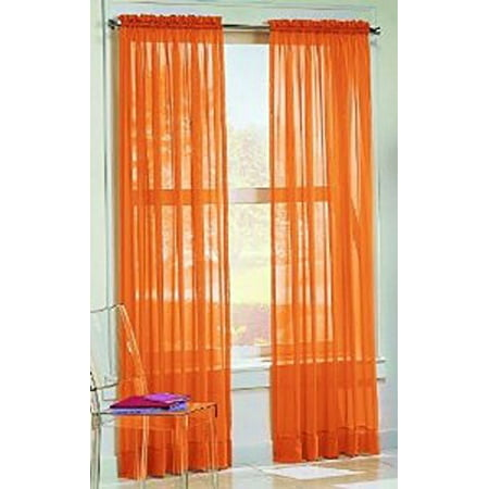 Gorgeous Home 1pc Bright Orange Solid Soft Voile Sheer Window Curtain Panels Drapes 54 Wide X