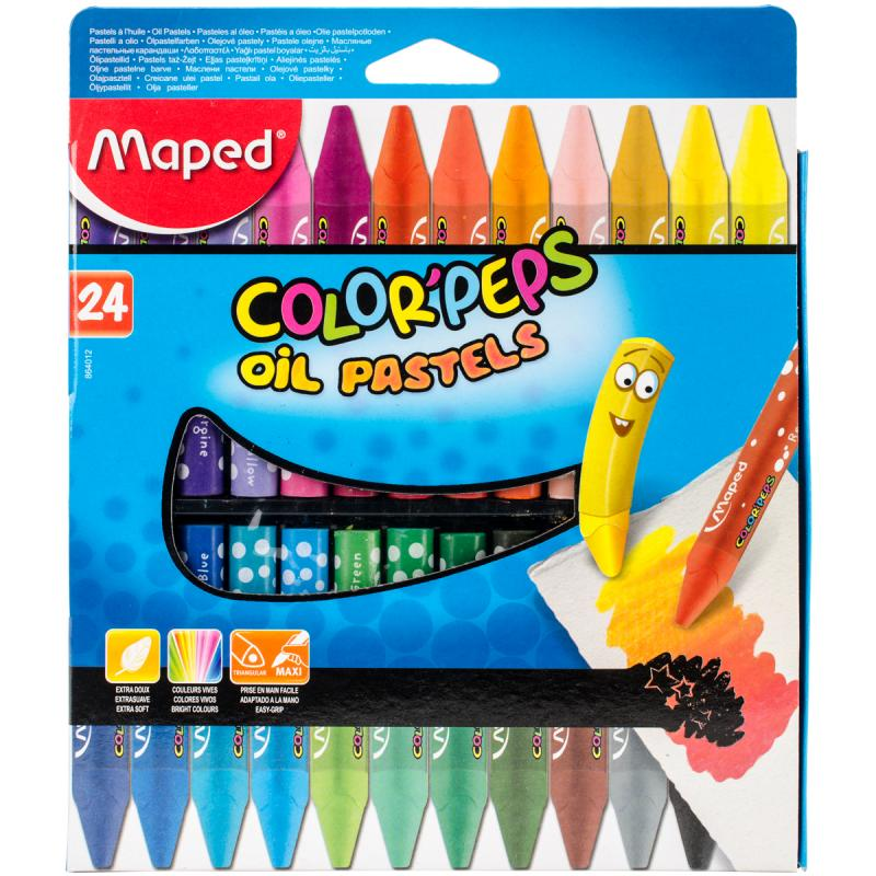 Color'peps Triangular Oil Pastels 24/pkg-assorted