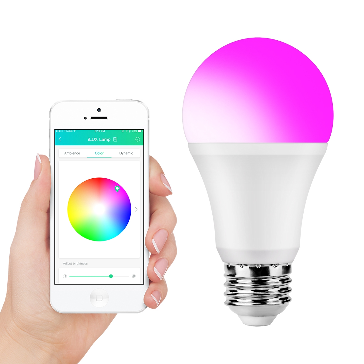Lighting EVER 9W 800lm A19 E26 iLUX LED Smart Bulb, RGBW Dimmable Smart-phone Bluetooth Control LED Light Bulb, 60W Incandescent Bulb Equivalent