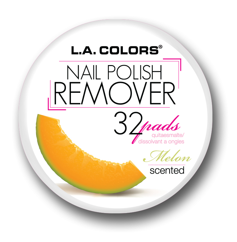 LA Colors Scented Nail Polish Remover Pads, Melon, 32 Ct