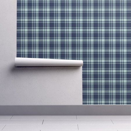 Peel-and-Stick Removable Wallpaper Plaid Baby Boy Blue Plaid Navy Dusty Dusty ()