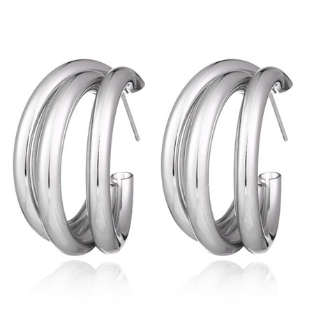 Women Minimalist Thick Tube Round Circle Rings Hoops Earrings Hiphop Rock OhVWw Hoop Round Ring