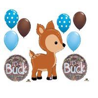 9 New Balloons It's a Baby boy Buck Deer Shower Camouflage Hunter Hunting Gift Decor Gender Reveal