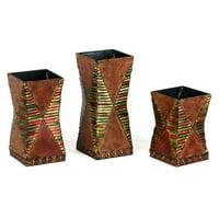 Privilege International Square Metal Vase - Set of 3