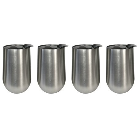 Stainless Steel Stemless Wine Glasses - 15 oz with Lids - Set of 4 - Double Walled Insulated -