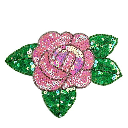 """Altotux 7.5""""x5.5"""" Red Pink Purple Orange Yellow Rose Beaded Sequins Sew on Patch Applique By Piece (Orange)"""