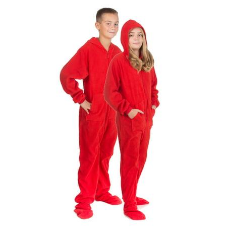 cfa4a59750 Big Feet Pajamas - Hoodie Footed Onesie Red Fleece Footed Pajamas for Boys  & Girls - Walmart.com