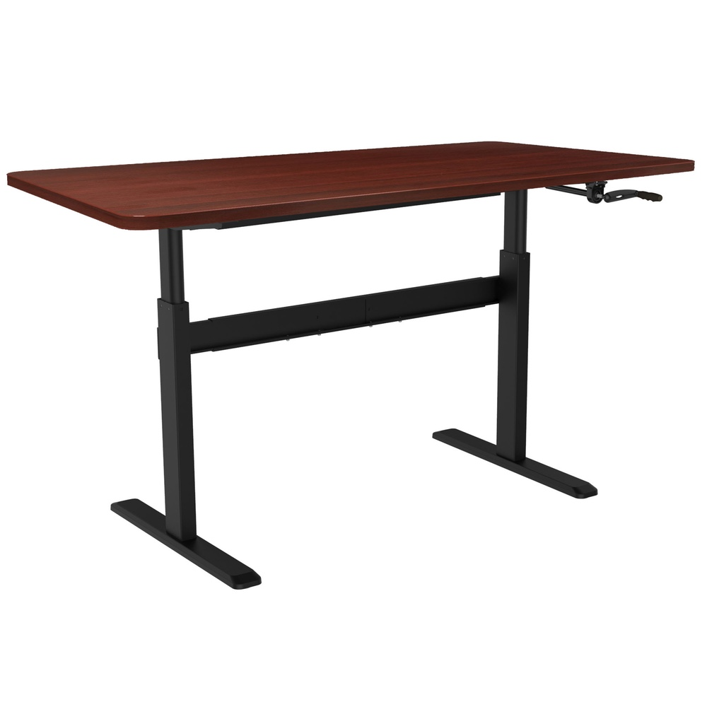 Coventry Manual Crank Handle Standing Desk   Sit Stand Desk With Black  Frame And White Table Top   Stand Up Desk For Home And Office