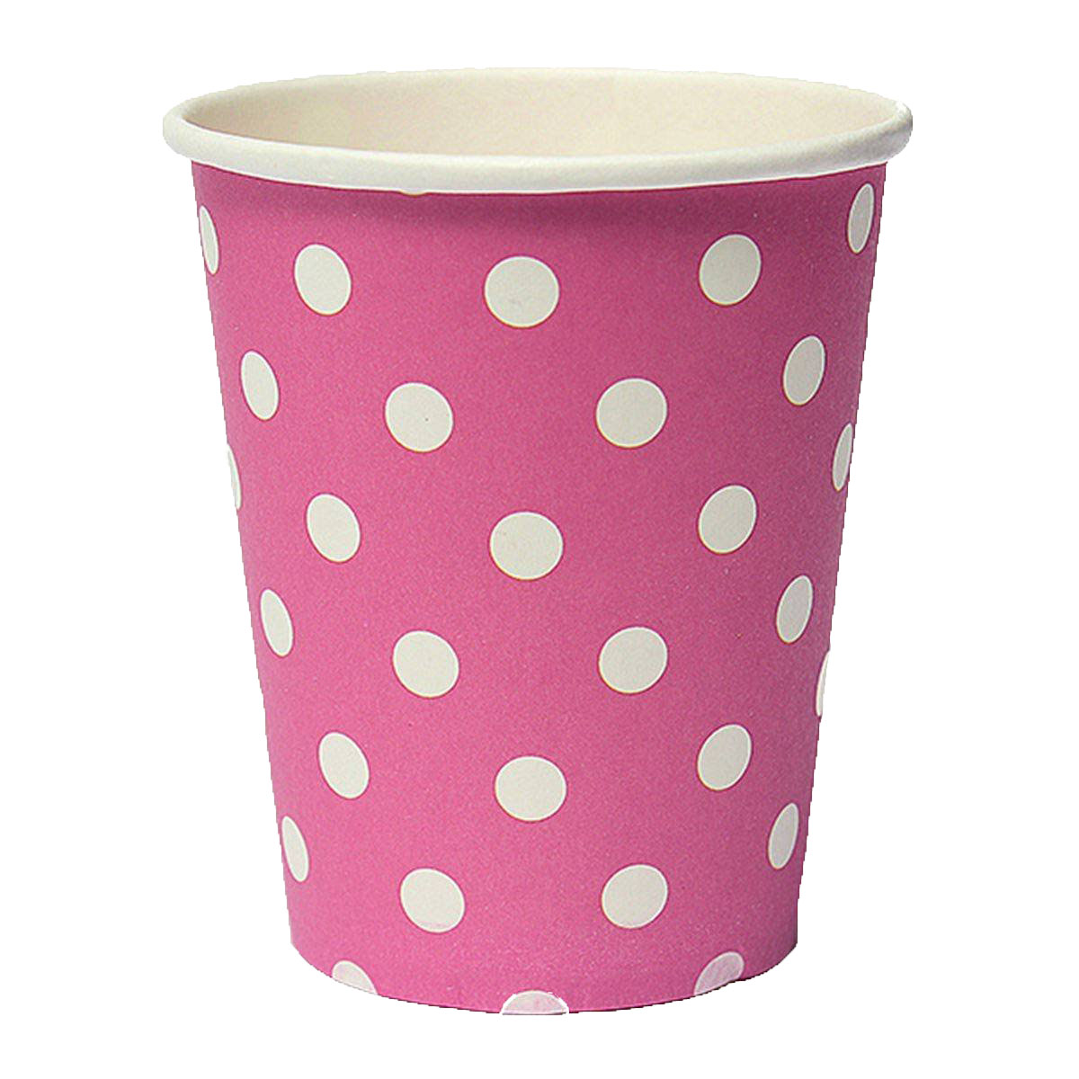 THZY 50pcs Polka Dot Paper Paper Cups Case Disposable Tableware Wedding Birthday Decorations Pink