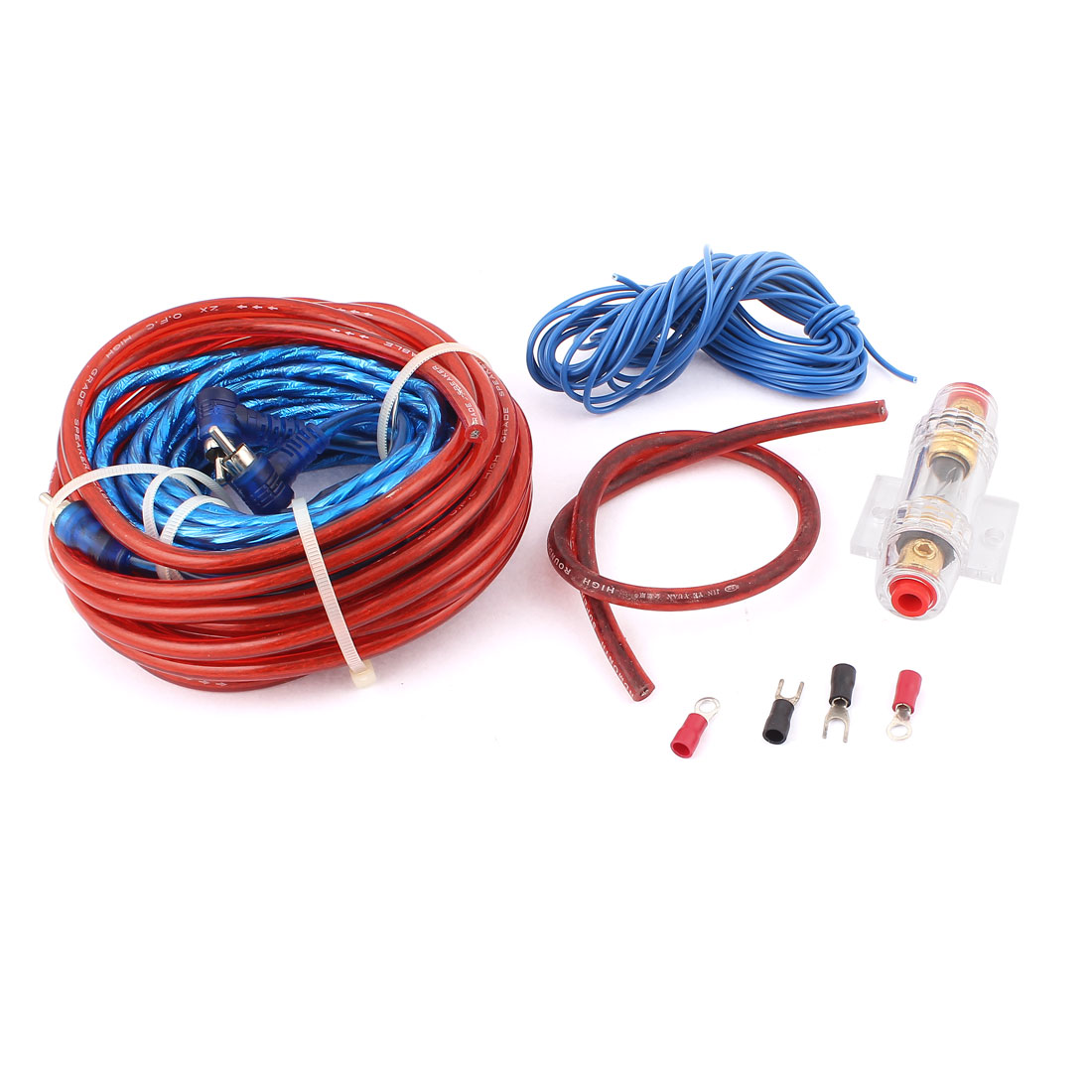 Unique Bargains 5 in 1 Vehicle Car Audio Battery Copper Cable Amplifier Wiring Kit Set