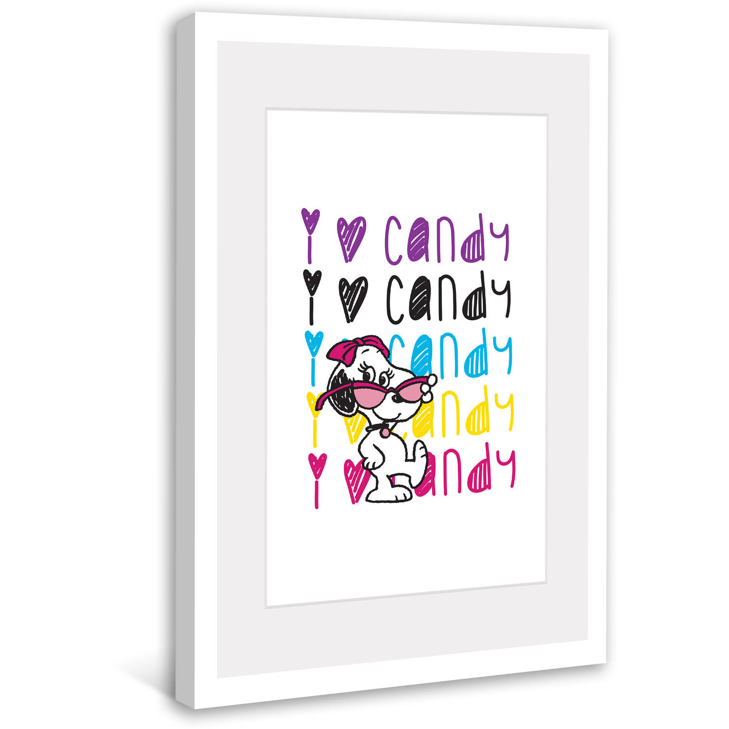 "Marmont Hill ""Belle Loves Candy"" Peanuts Framed Art Print"