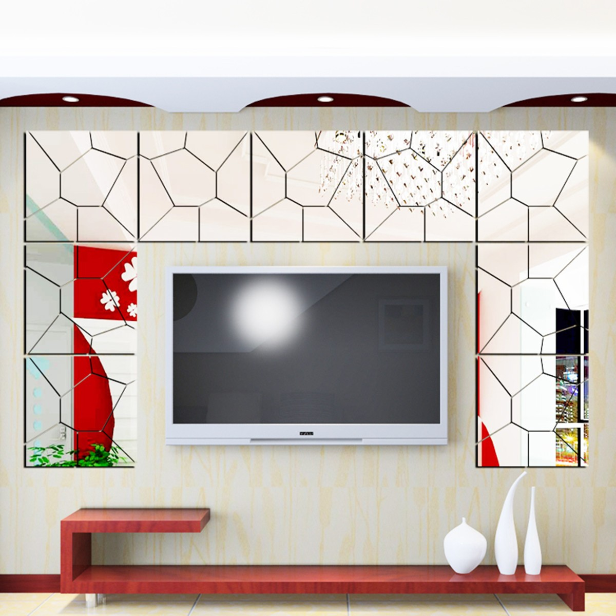 35PCS Self Adhesive 3D DIY Acrylic Removable Mirror Tile Acrylic Mirror Sheets Mirror Decal Art Mural Wall Sticker Home for Home Living Room Bedroom Decor