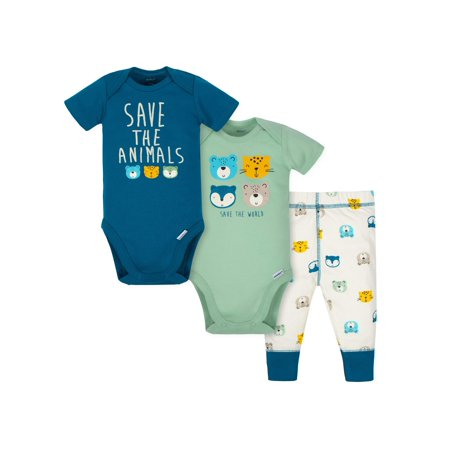 Gerber Short Sleeve Bodysuits and Active Pant Outfit Set, 3pc (Baby Boys) (Baby Boy Clearance Sale)
