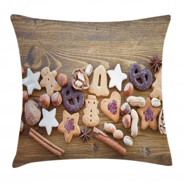 Cookie Throw Pillow Cushion Cover Assorted Cakes And Sweets In Frosting Nuts And Gingerbread Man Stars Glazing Decorative Square Accent Pillow Case 24 X 24 Multicolor By Ambesonne Walmart Com Walmart Com