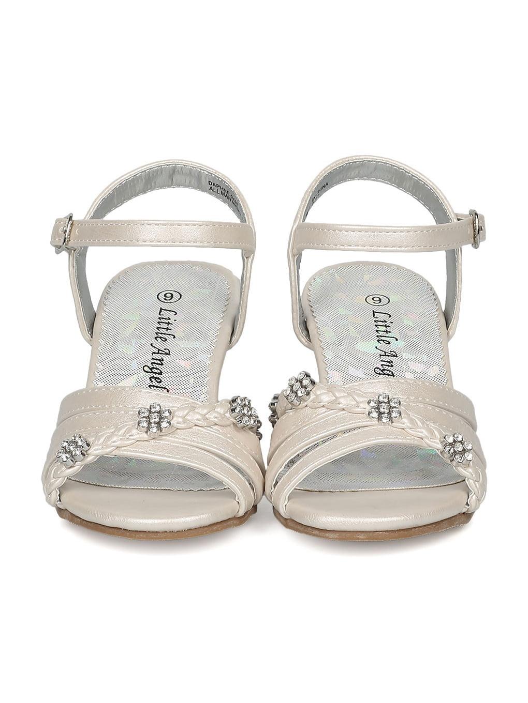 8a99a5e84c7e7 Little Angel - Girls Open Toe Rhinestone Flower Ankle Strap Kiddie Heel  Sandal HC27 - Walmart.com