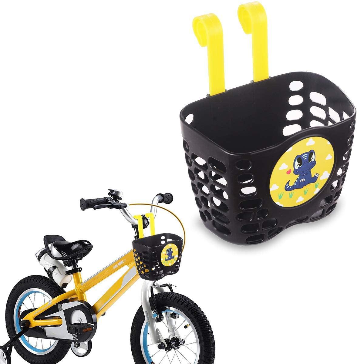 Black Toyandona Kids Bike Basket Dinosaur Pattern Plastic Front Handlebar Bicycle Basket Scooter Basket For Kids Boys Girls Sports Outdoors Cycling