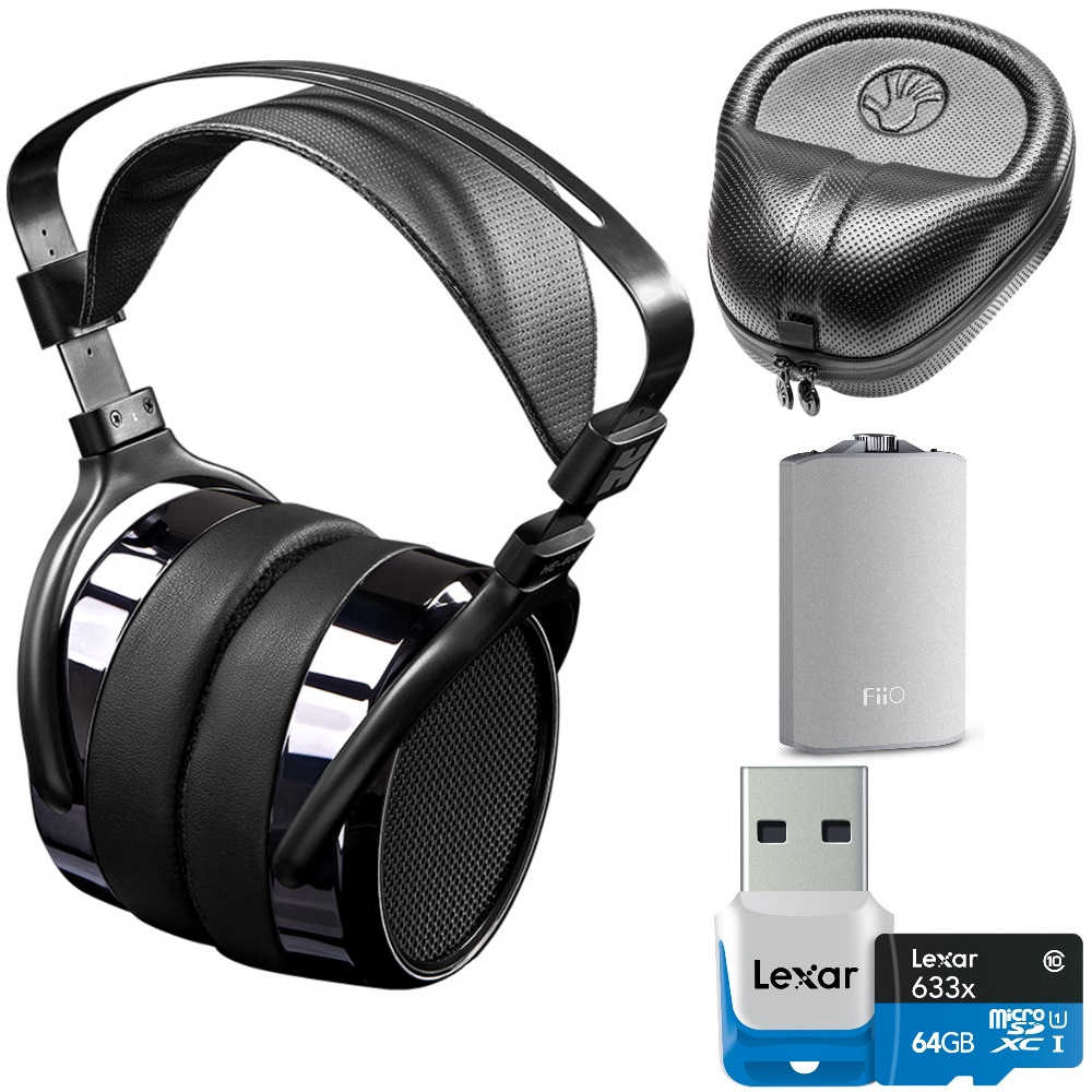 HIFIMAN HE400i Over Ear Full-size Planar Magnetic Headphones Ultimate Bundle includes Headphones, FiiO A3 Portable Headphone Amplifier, 64GB microSDXC Memory Card and HardBody PRO Headphone Case