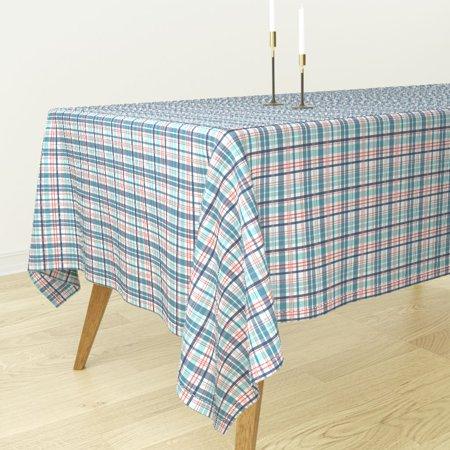 Tablecloth Nautical Plaid Blue Red Aqua Coastal Stripes Cotton Sateen](Blue Plaid Tablecloth)