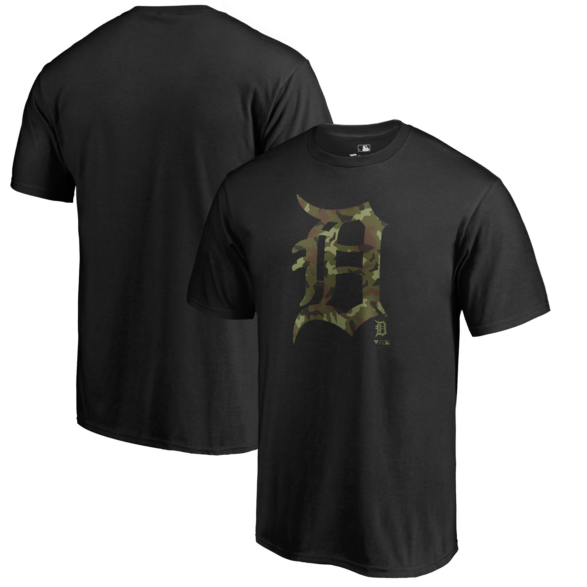 Detroit Tigers Fanatics Branded Big & Tall Memorial Day Prestige Camo T-Shirt - Black