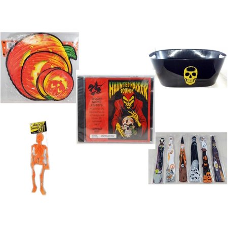 Halloween Fun Gift Bundle [5 Piece] - Classic Pumpkin Cutouts Set of 9 - Black With Skeleton Oval Party Tub - Haunted Horror Sounds CD - Hanging Skeleton Orange -  Wooden Craft Stick Figures 1 Dozen