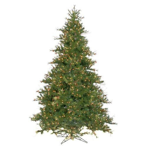 Vickerman Mixed Country Pine 9' Green Artificial Christmas Tree with 1100 Clear Lights with Stand