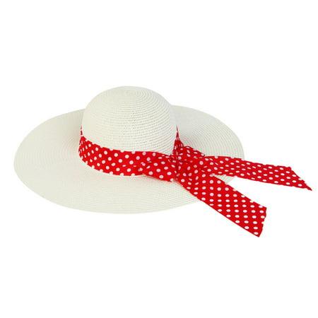 Princess Polka Dot Bow Natural Floppy Wide Brim Straw Beach Sun - Princess Hats