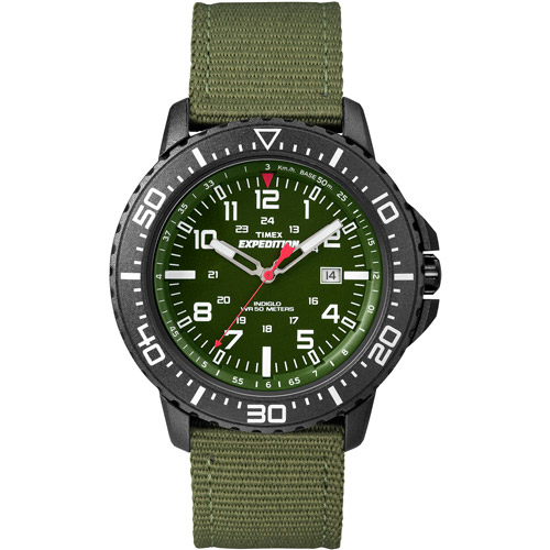 Timex Mens Black Green Analog Camper Sport Watch