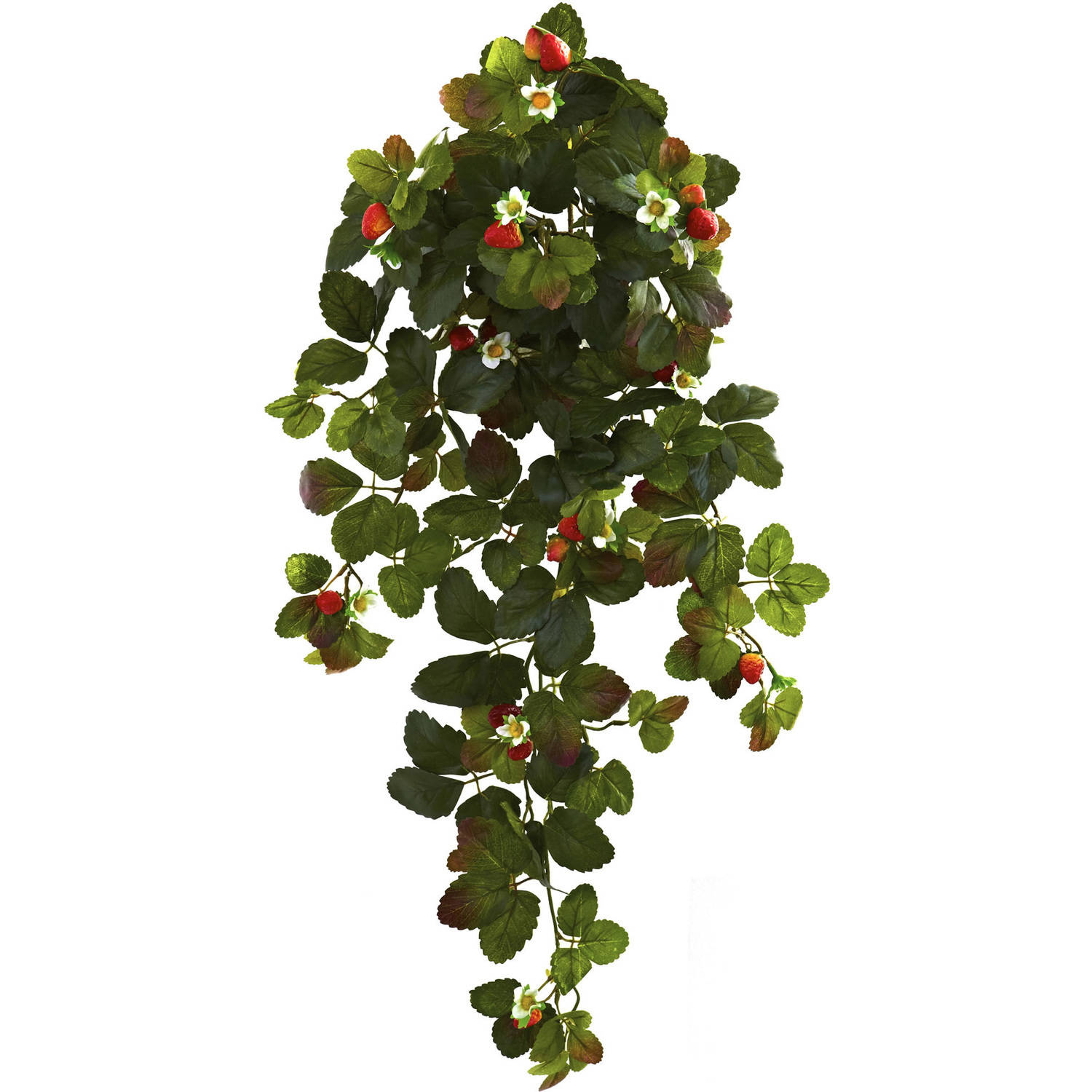 """Nearly Natural 31"""" Strawberry Hanging Bush with Berry, Set of 2"""