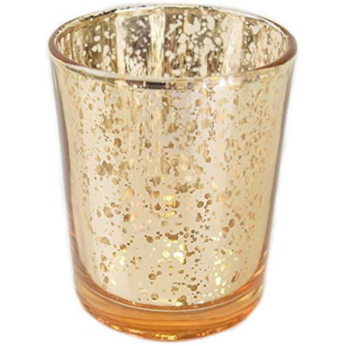 """Just Artifacts (Bulk) Mercury Glass Votive Candle Holder 2.75""""H (100pcs, Speckled Gold -Mercury Glass Votive Tealight Candle Holders for Weddings, Parties and Home Dcor"""