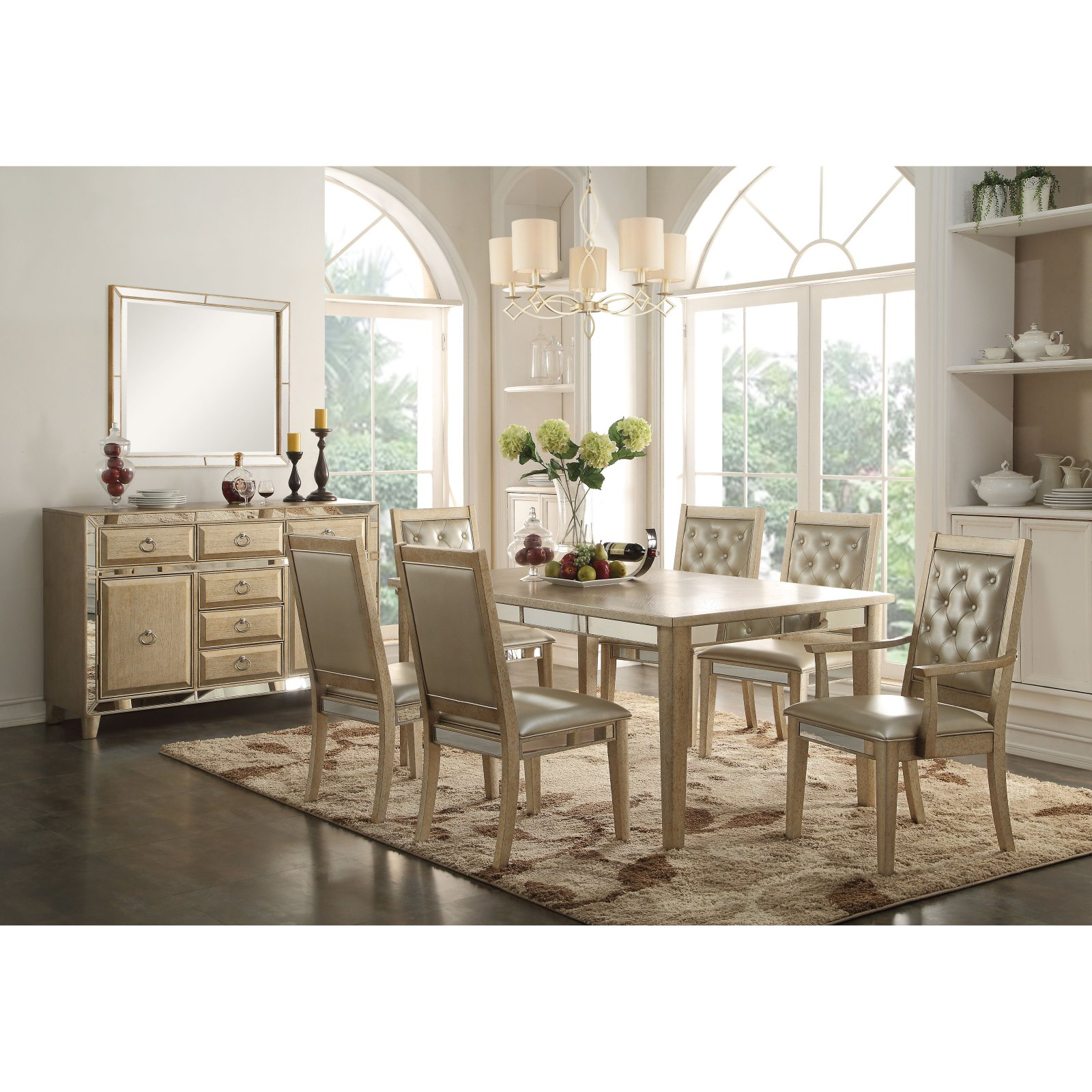 Acme Furniture Voeville Dining Table - Antique Gold