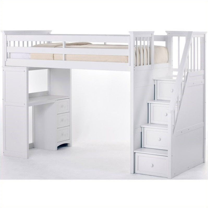 Hillsdale School House Stair Loft With Desk End, White by Hillsdale