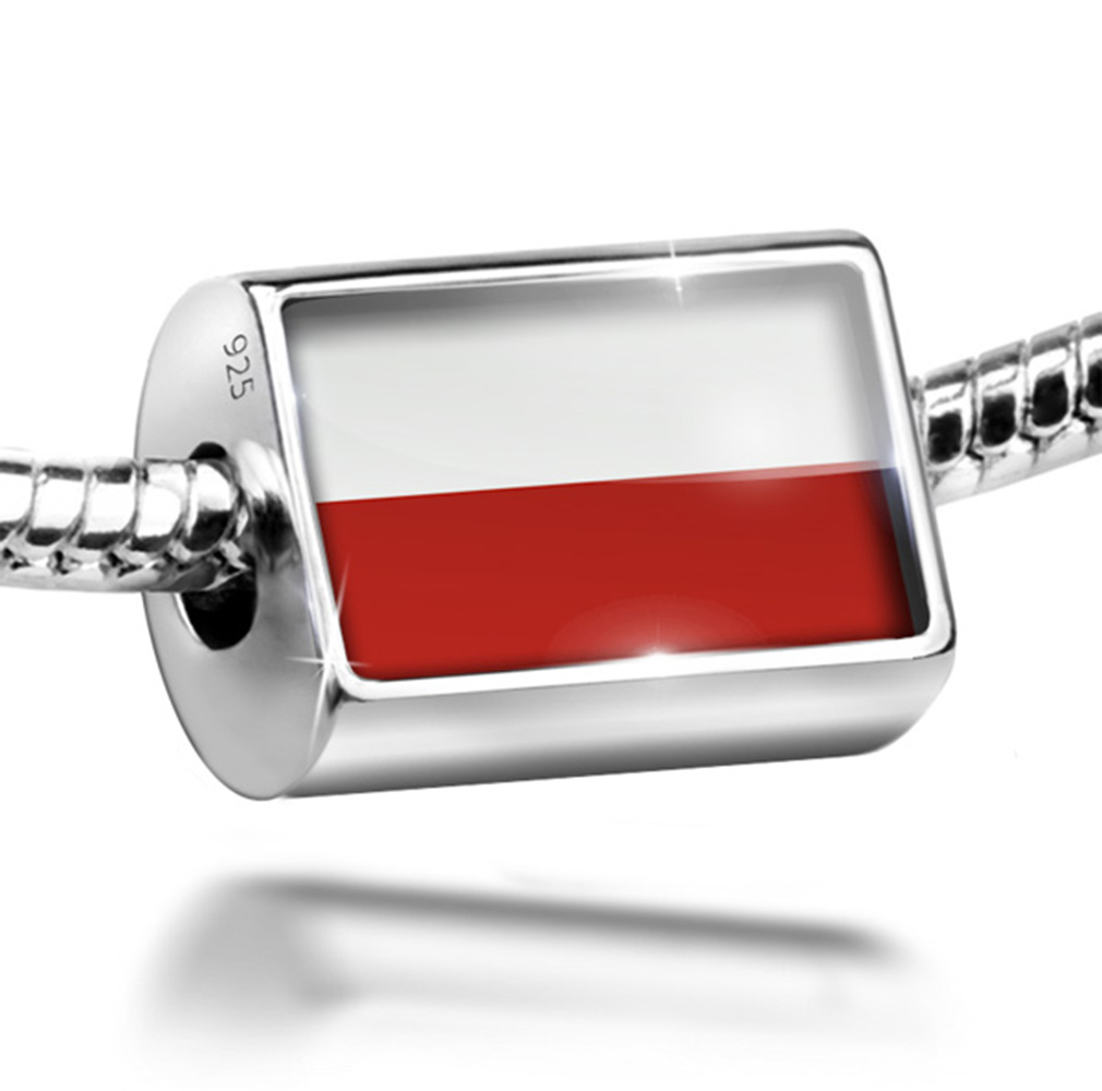 Bead Poland Flag Charm Fits All European Bracelets by NEONBLOND