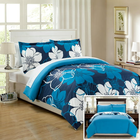 Chic Home 7 Piece Celosia Abstract Large Scale Floral Printed King Bed In A Bag Duvet Set Blue Sheets Included