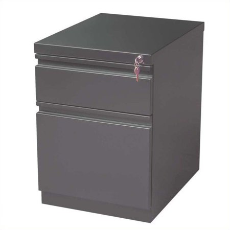 - 20-inch Mobile Pedestal 2-Drawer Box/File Full Width Pull, Charcoal
