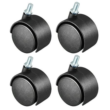 4 Pcs 2 Inch Swivel Caster Wheels Nylon Threaded Stem M8 x 15mm 39lb Capacity 15 Mm Stem Adaptor