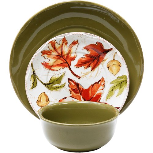Better homes and gardens 12 piece harvest dinnerware set assorted colors for Better homes and gardens dinnerware