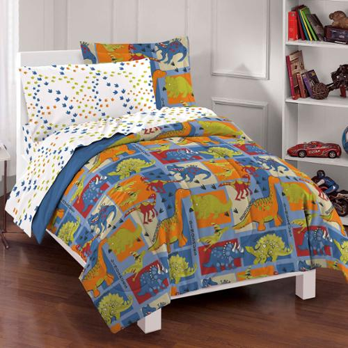 Dinosaur Blocks 7-piece Bed in a Bag with Sheet Set Full