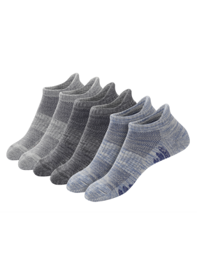 u&i Men's Performance Cushion Cotton Low Cut Ankle Athletic Socks with Tab, Gray (6-Pack)